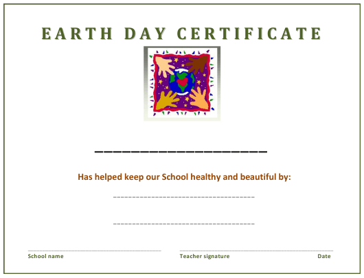 """""""Earth Day Certificate Template for Students"""" Download Pdf"""