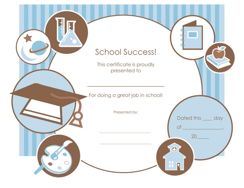 """Great Job in School Certificate Template"" Download Pdf"