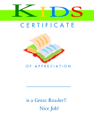 """Great Reader Appreciation Certificate Template for Kids"""