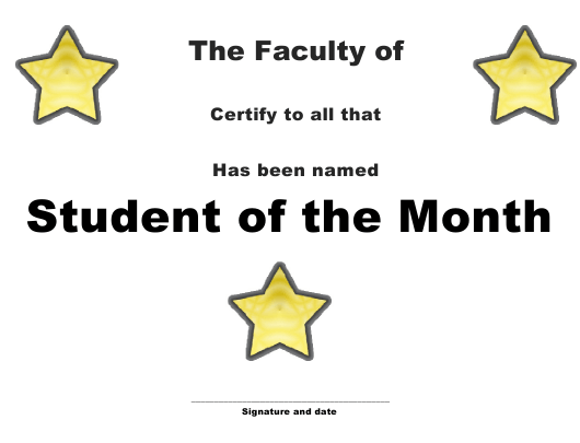 """Student of the Month Certificate Template"" Download Pdf"