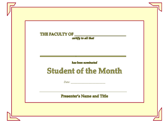 """""""Student of the Month Certificate Template - Lined"""" Download Pdf"""