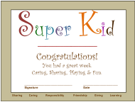 """Super Kid Award Certificate Template"""