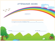 """Perfect Attendance Award Certificate Template - Lined"""