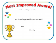 """Most Improved Award Certificate Template"""