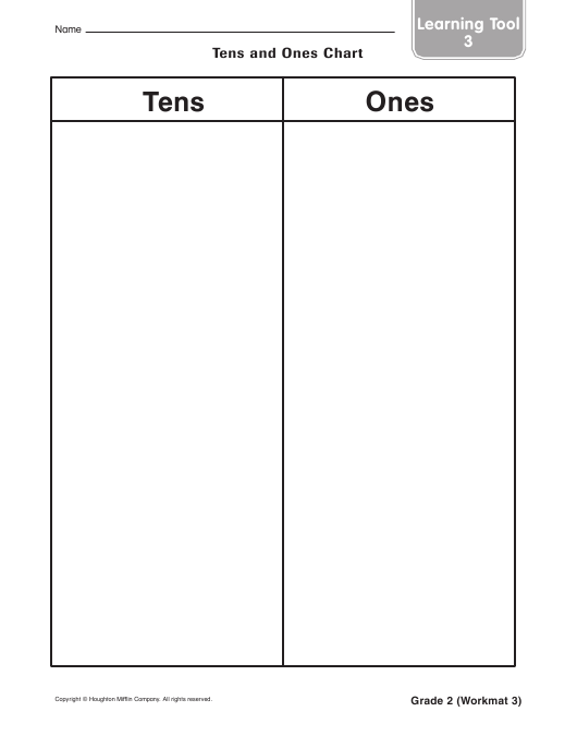 """""""Tens and Ones Chart Template - 2-nd Grade, Learning Tool 3, Houghton Mifflin Math"""" - United Kingdom Download Pdf"""