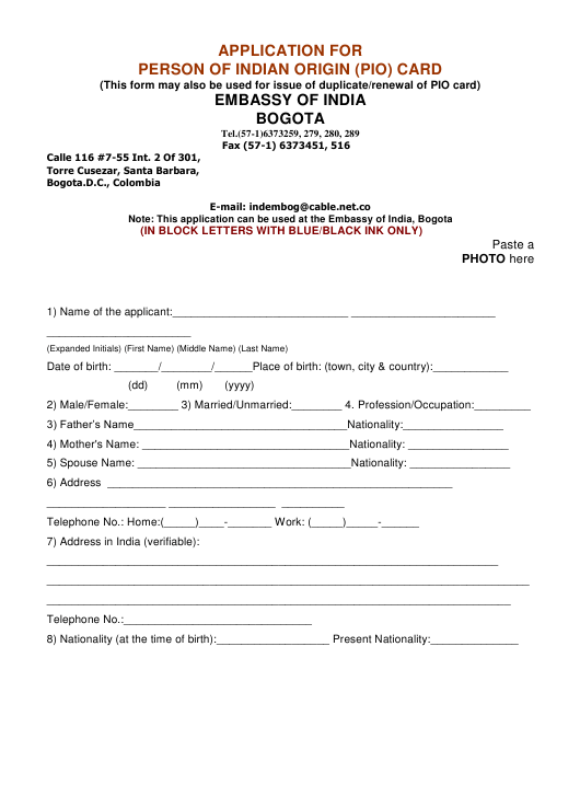 """Application Form for Person of Indian Origin (Pio) Card"" - Bogota D.C., Colombia Download Pdf"