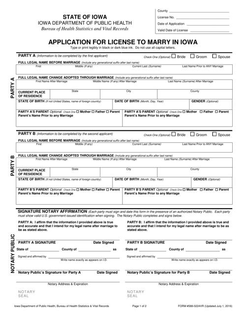 Form 588-0224VR  Printable Pdf