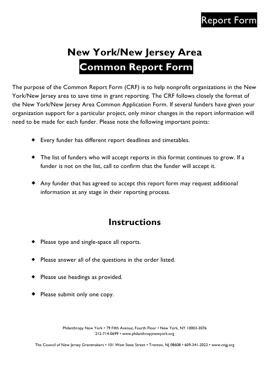 New York/New Jersey Area Common Report Form - New Jersey Download Pdf