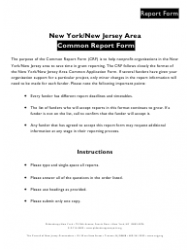 New York/New Jersey Area Common Report Form - New Jersey