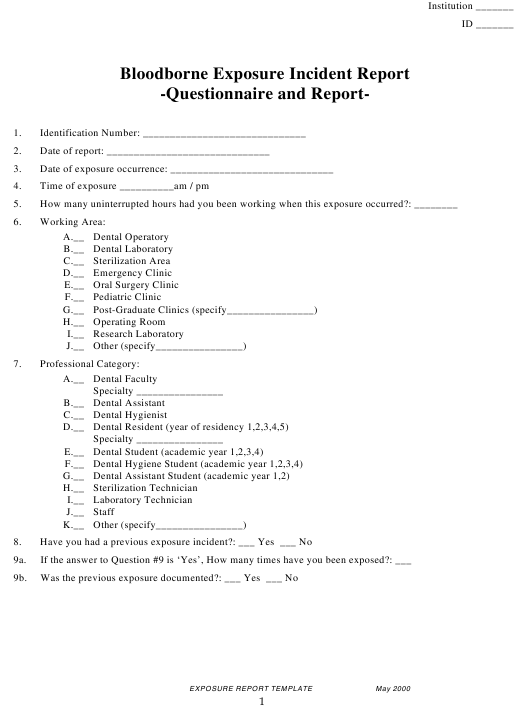 """Bloodborne Exposure Incident Report Form"" Download Pdf"