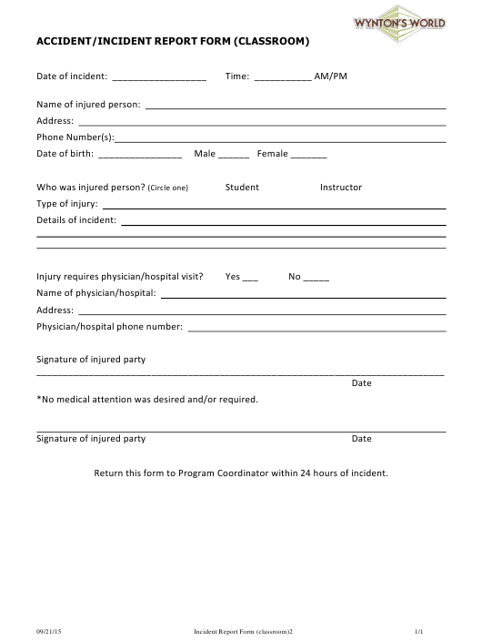 Classroom Accident/Incident Report Form - Wynton's World Download Pdf