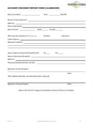 Classroom Accident/Incident Report Form - Wynton's World