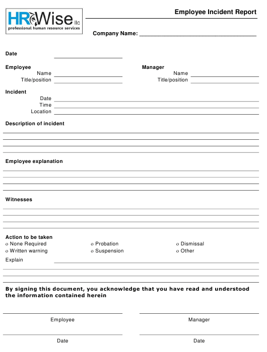 Employee Incident Report Form - Hr Wise Llc Download Pdf