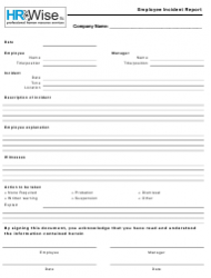 Employee Incident Report Form - Hr Wise Llc