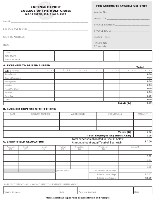 """Travel Expense Report Form - College of the Holy Cross"" Download Pdf"