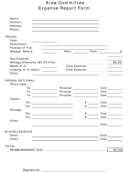Area Committee Expense Report Form Download Pdf