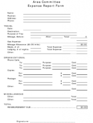 Area Committee Expense Report Form