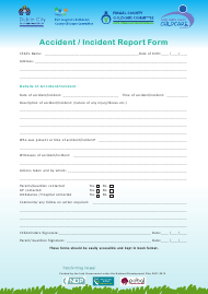 Accident Incident Report Form - Childcare Committee - Dublin