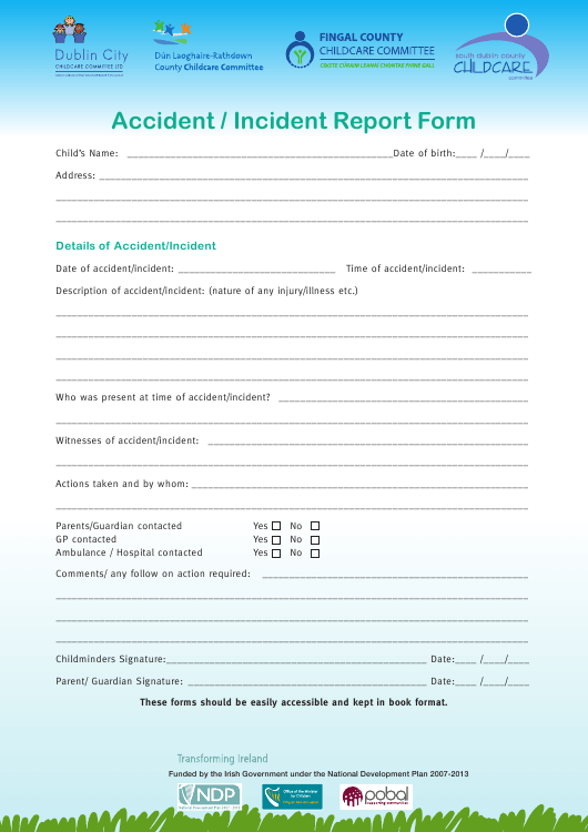 """Accident Incident Report Form - Childcare Committee"" - Dublin, Ireland Download Pdf"