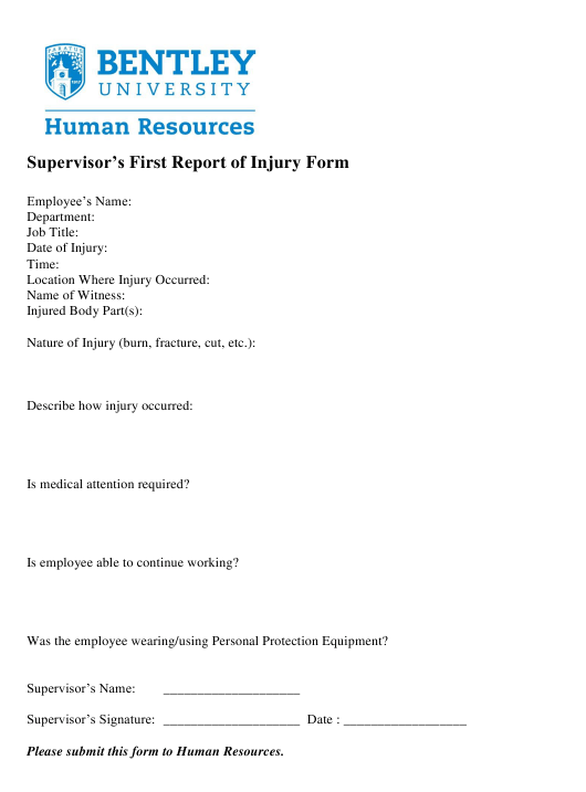 """""""Supervisor's First Report of Injury Form - Bentley University"""" Download Pdf"""