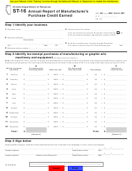 """Form ST-16 """"Annual Report of Manufacturer's Purchase Credit Earned"""" - Illinois"""
