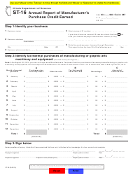 Form ST-16 Annual Report of Manufacturer's Purchase Credit Earned - Illinois