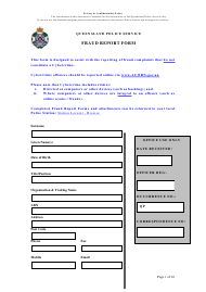 """Fraud Report Form"" - Queensland, Australia"