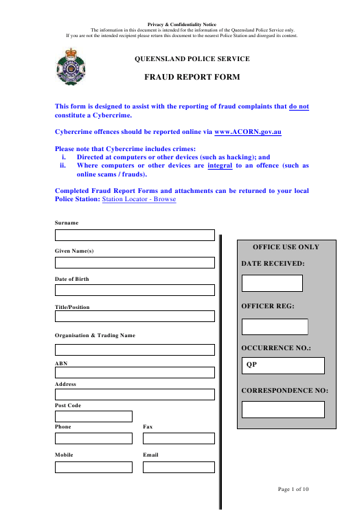 """Fraud Report Form"" - Queensland, Australia Download Pdf"