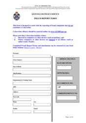 """Fraud Report Form"" - Queensland, Australia"