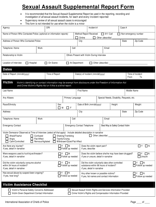 Sexual Assault Supplemental Report Form - International Association of Chiefs of Police Download Pdf