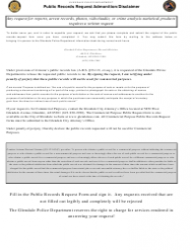 Public Records Request Admonition/Disclaimer Form - City of Glendale, Arizona