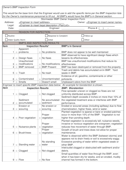 """Stormwater Bmp Owner Inspection Form"" Download Pdf"