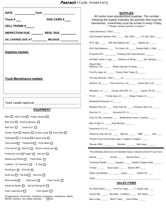 """""""Truck Inventory Template - Pestech"""" Download Pdf"""