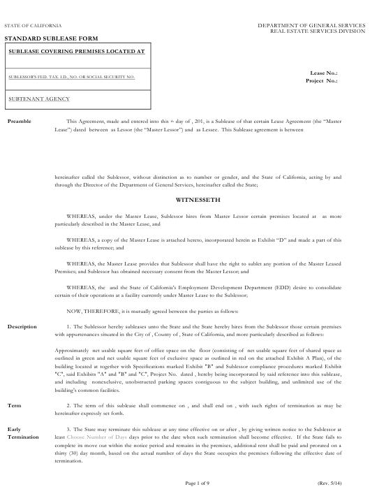 """Standard Sublease Form"" - California Download Pdf"