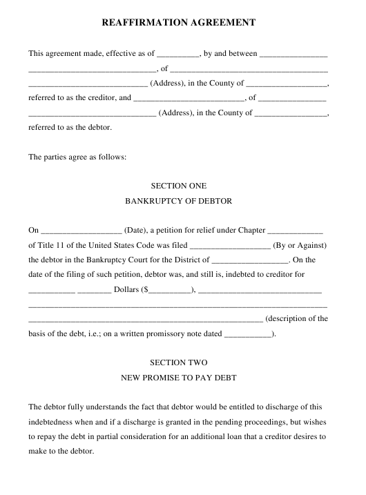 Reaffirmation Agreement Form Download Pdf
