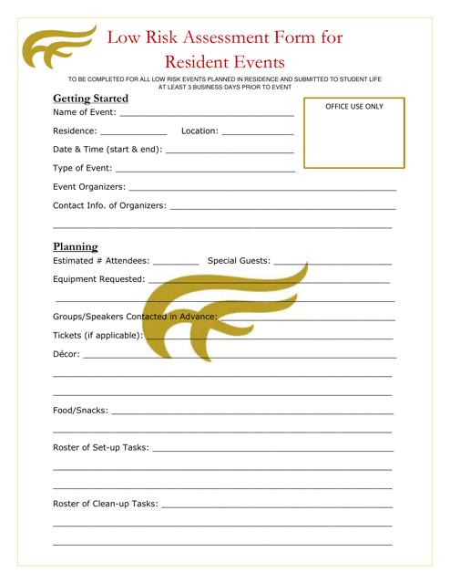 """Low Risk Assessment Form for Resident Events - Mount Allison University"" Download Pdf"