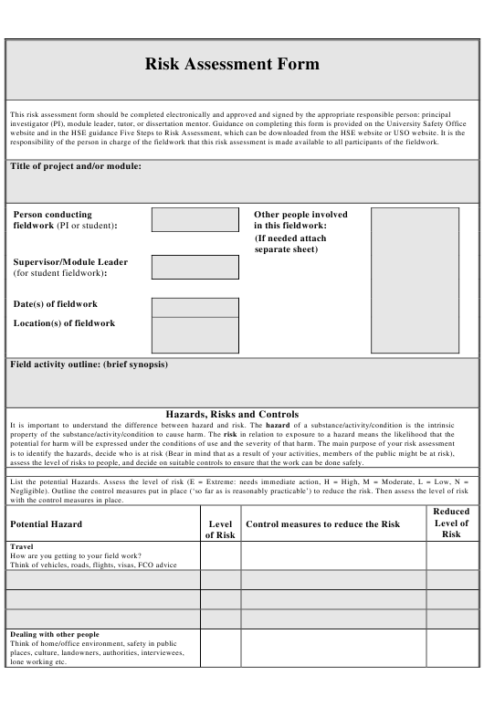 """Risk Assessment Form"" Download Pdf"