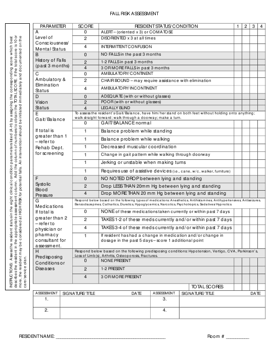 Fall Risk Assessment Checklist Download Pdf