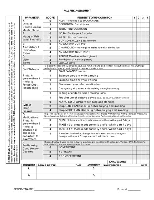 """Fall Risk Assessment Checklist"" Download Pdf"
