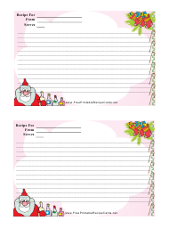 """Christmas Recipe Card Template - 2 Per Page"""