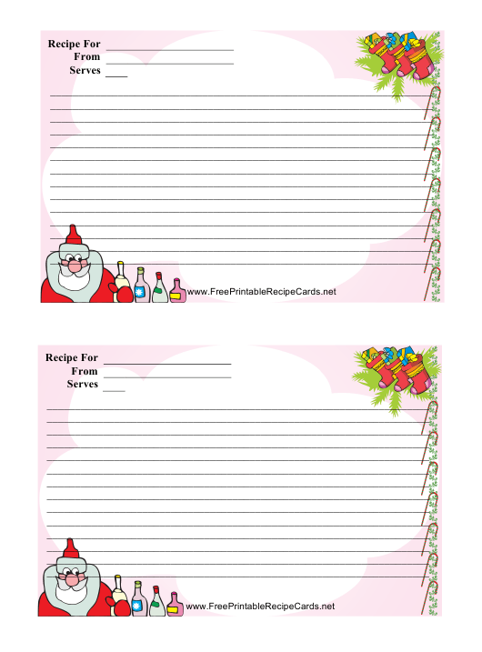 """Christmas Recipe Card Template - 2 Per Page"" Download Pdf"