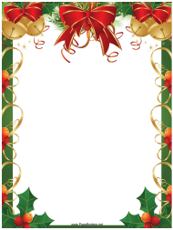 """Ribbons, Bells and Holly Christmas Page Border Template"""