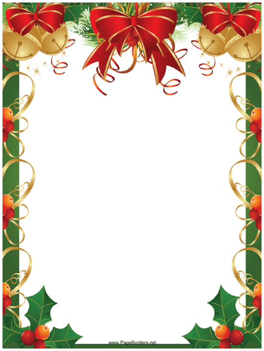 """""""Ribbons, Bells and Holly Christmas Page Border Template"""" Download Pdf"""
