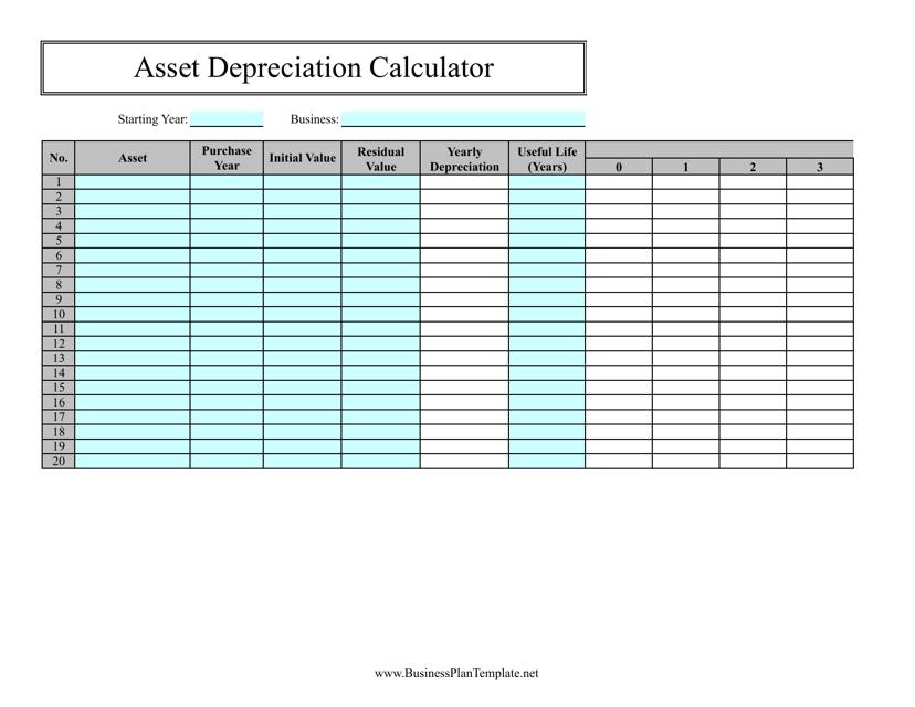 """Asset Depreciation Calculator Spreadsheet Template"" Download Pdf"