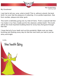 "Sample ""Tooth Fairy Letter"""
