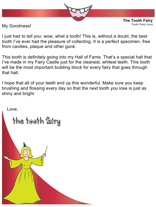 """Sample """"Tooth Fairy Letter"""" Download Pdf"""