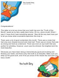 "Sample ""Tooth of the Month Award Letter From the Tooth Fairy"""
