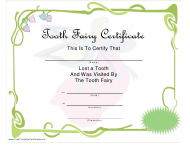 Green Tooth Fairy Certificate Template