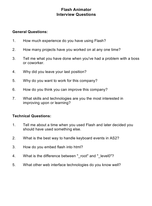 """""""Sample Flash Animator Interview Questions"""" Download Pdf"""