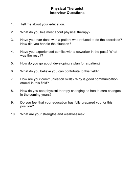 """""""Sample Physical Therapist Interview Questions"""" Download Pdf"""
